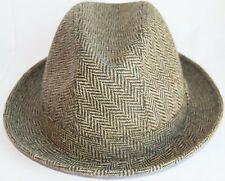 CHRISTYS LONDON HERRINGBONE FEDORA HAT ITALY ITALIAN WOOL CAP GREEN L Large 59cm