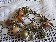 "Brass Tone & Orange Varied Glass & Plastic Bead Chain Bracelet - 7"" long"