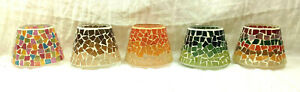 Mosaic Stained Glass Candle Topper Shade Pastel Brown Vanilla Green Cranberry