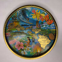 Vintage Ken Idaag Souvenir Metal Tray Artist Colorful Surfing Lei Hawaii Aloha