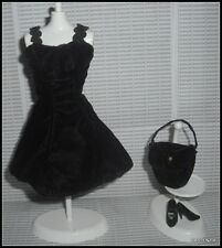 OUTFIT BARBIE DOLL BLOOMINGDALE'S SAVVY BLACK VELVET DRESS PURSE SHOES ACCESSORY