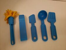 Fisher Price Fun With Food Blue Kitchen Utensils Dish Tongs Spatula