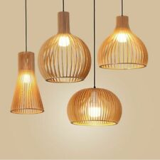 Indoor Led Light Hand-made Wooden E27 Pendant Birdcage Lamps Home Decorations