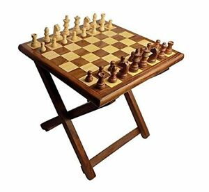 VINTAGE STYLE HANDMADE WOODEN FOLDING CHESS TABLE WITH STORAGE BOX