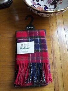Bnwt. BARBOUR. Red Check 100% Lambswool Tartan Scarf.