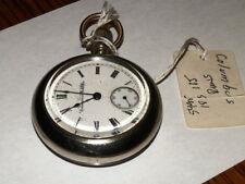 #5495,Vintage Seldom Seen 1894 Columbus Pocket Watch 18s,11J,RR Engrave Back Cov