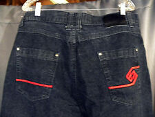 Enyce Men's Jeans Black/Gray 5 pocket Red Embellished  SIZE 38x30 Sean Combs