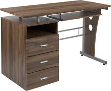 Computer Desk with File Cabinet Pedestal, Pull-Out Keyboard in Laminated Walnut