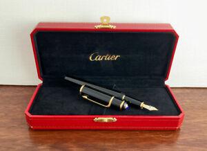 Cartier Diabolo De Cartier Black and Gold Fountain pen. 18K M nib. Boxed. Mint.