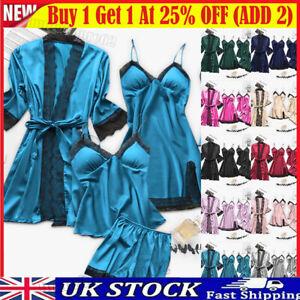 4PCS Women Sexy Satin Silk Nightwear Sleepwear Lace Night Gown Long Dressing Set