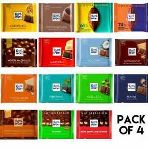 Ritter Sport Chocolate Bars 100g PACK OF 4 CHOOSE YOUR FLAVOUR For All Occasion