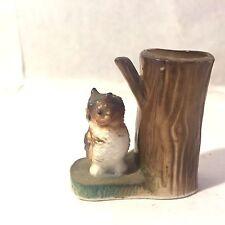 """Vtg Small MCM Ceramic Owl w Tree Bud Vase Handpainted Japan? 1 7/8"""" Tall"""