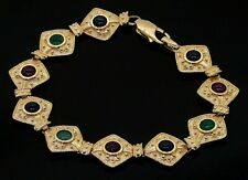 Heavy 14K gold colorful 5.0CTW ruby emerald Blue sapphire fancy link bracelet