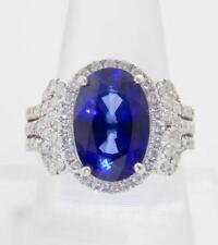 CERTIFIED 8.28CT NATURAL KASHMIR BLUE SAPPHIRE DIAMOND 14K GOLD ENGAGEMENT RING