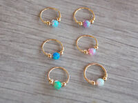 Opal cartilage piercing opal tiny hoop body jewelry helix hoop tragus nose ring