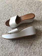 LADIES Dune White Leather WEDGE SANDALS Size 40 (6.5-7) New & Unworn