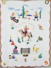 Vintage 30s Cowboy Applique Antique Crib Quilt ~Native American & Western Themes
