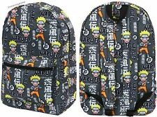 Licensed Naruto Shippuden Ninja Academy Anime All Over Character Backpack Black