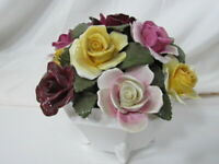 Vintage Royal Doulton Floral Rose Bouquet in 4 Footed Pot - Red, Yellow, Pink