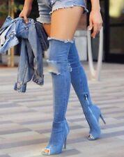"new Denim Blue Rip 4.5""Stiletto High Heel Over Knee Sexy Boots women Size 6"