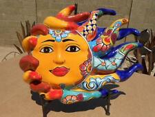 LARGE talavera blowing Sun wall plaque Southwest Mexican folk art pottery