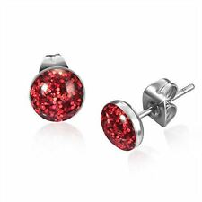 STAINLESS STEEL RED GLITTER ROUND STUD EARRINGS