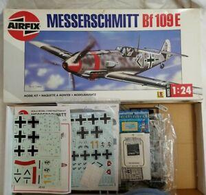 1993 AIRFIX #12002 MESSERSCHMITT Bf-109E - 1/24 SCALE KIT w/ 2 UPGRADES & DECALS