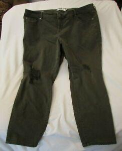 "Ladies ""Torrid"" Size 22R (W46/L30.5) Olive Green, Destructed, Boyfriend Jeans"
