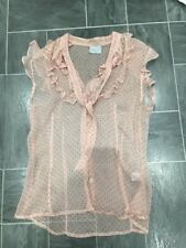 OASIS SIZE 8 SILK PINK/RED PUSSY BOW CRINKLE RUFFLE SHEER TOP/BLOUSE NWOTS