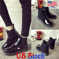 Women Chunky Flat Non-slip Low Heel Slip On Round Toe Rain Boot Waterproof Shoes