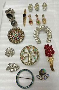 16 Vintage Rhinestone Pins Brooches Mixed Lot