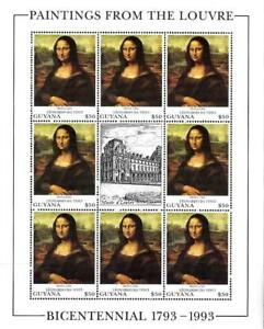 GUYANA 1993 PAINTINGS / LEONARDO, MONA LISA neuf ** very popular item!
