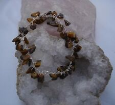 Sterling Silver & TIGERS EYE Bracelet. HAND CRAFTED. In a pouch.