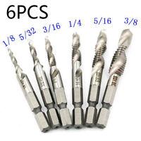 "6pcs 1/4"" Hex Shank High Speed Steel Spiral Screw Thread Taps Drill Bit Tool Set"