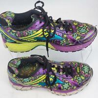 Brooks DNA Adrenaline GTS Tie Shoe Purple Teal Yellow Womens Size 7.