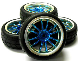 1/10 On Road Soft Tread Car RC Wheel and Tyre Tire 12 Spoke Blue x 4