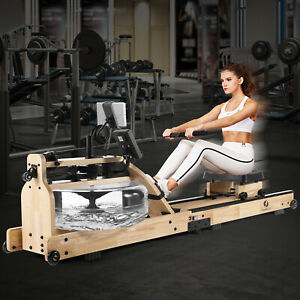 Folding Water Rowing Machine WoodRower Bluetooth LCD Monitor Cardio HomeExercise