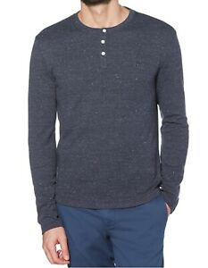 Penguin Mens Shirt Blue Size 2XL Speckled Waffle Knit Thermal Henley $79 365