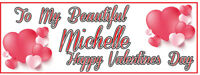 2 PERSONALISED VALENTINES DAY BANNERS - 800mm x 297mm - CHOICE OF 3 STYLES