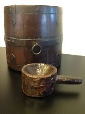 Antique Wooden Rice Bucket And Antique Tribal Scoop