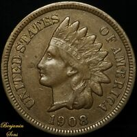 1908 S Indian Head Cent 1c Penny, Free Shipping! 030320-01