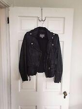 Gap, Tinley Road Washed Leather Motorcycle Jacket, Black, Size M