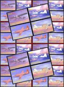 GHANA wholesale Famous AVIATORS x10 MNH PLANES, TRANSPORT, LINDBERGH