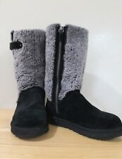 UGG BOOTS KATERINA BLACK/SUEDE GREY/SHEARLING SHEEPSKIN SIZE 7 RARE