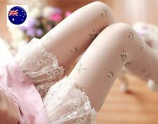 Women Lady Creamy White Flower Floral Fancy Retro Pantyhose Stockings Opaque