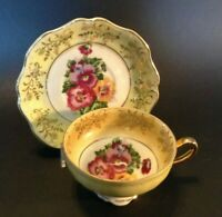 Pedestal Cup And Saucer - Yellow Luster With Purple Pansies - Japan