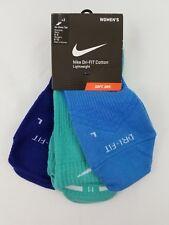 Nike Dri-Fit Lightweight Socks 3 Pair Blue Teal W (6-10) M (6-8) SX4842