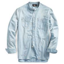 $295 RRL Ralph Lauren Striped Band Collar Jack Rabbit Work Shirt-MEN- M
