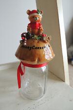Vintage MERRY CHRISTMAS / Bernardin Mason Jar, TEDDY BEAR 9.5 INCH  H VERY NICE