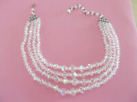 Four Strand Aurora Borealis Crystal Necklace Vintage Graduated For Pet Rescue